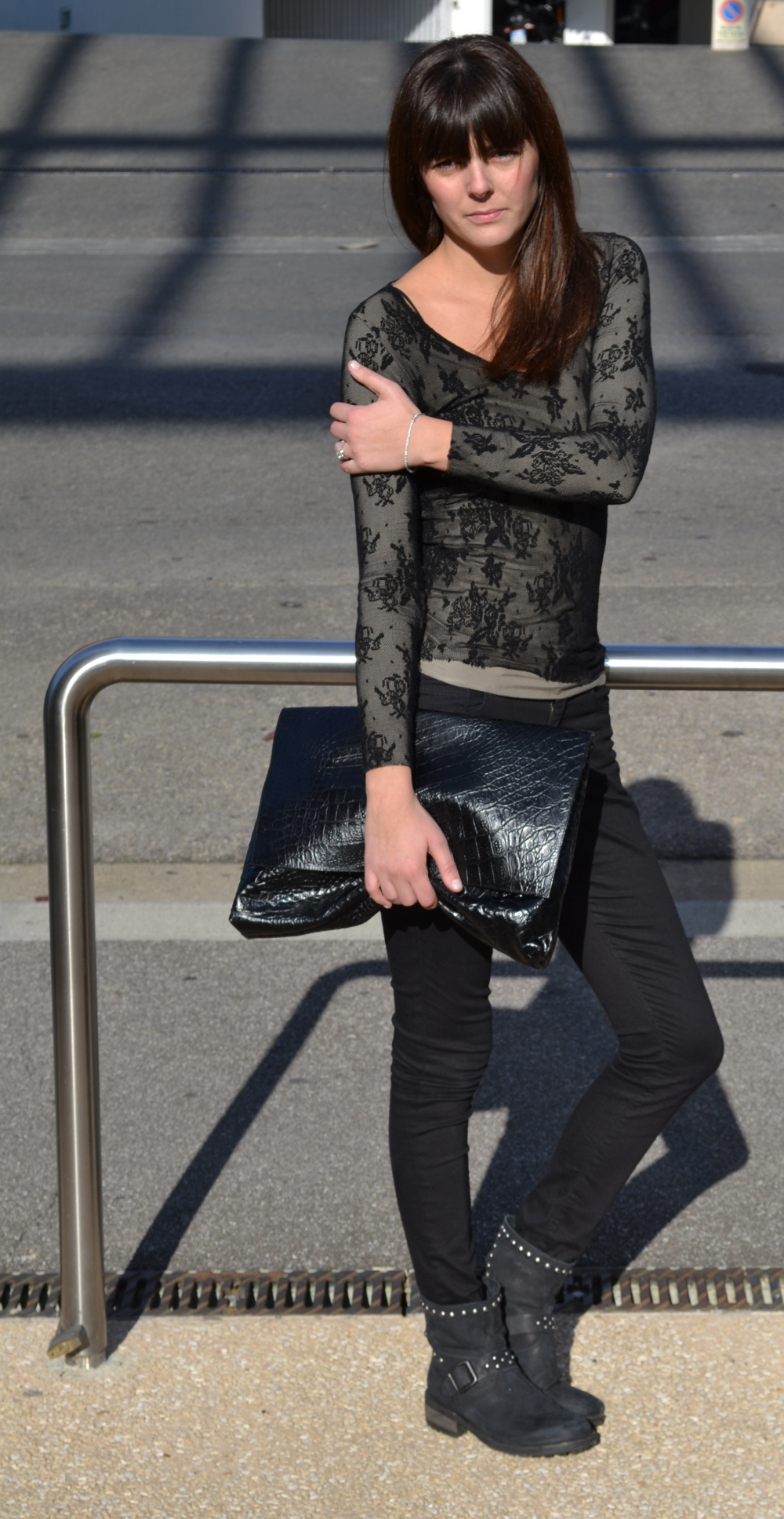 Black lace and biker boots