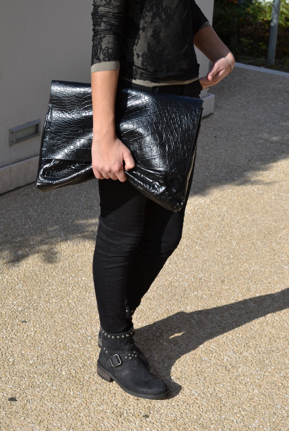 Black lace and vintage clutch