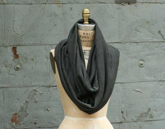 new Wool Cowl Infinity Scarf Autumn Winter Charcoal Gray Unisex Ready to Ship