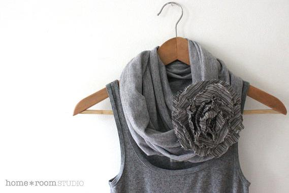 Jersey Knit Infinity Scarf- Heather Gray - with Jumbo Poppy Blossom - Sable Stripe - 100% Cotton - Brooch and Clip