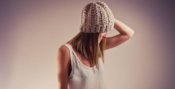 AUTUMN LEAVES HAT - chunky slouchy crochet beanie hat (linen)