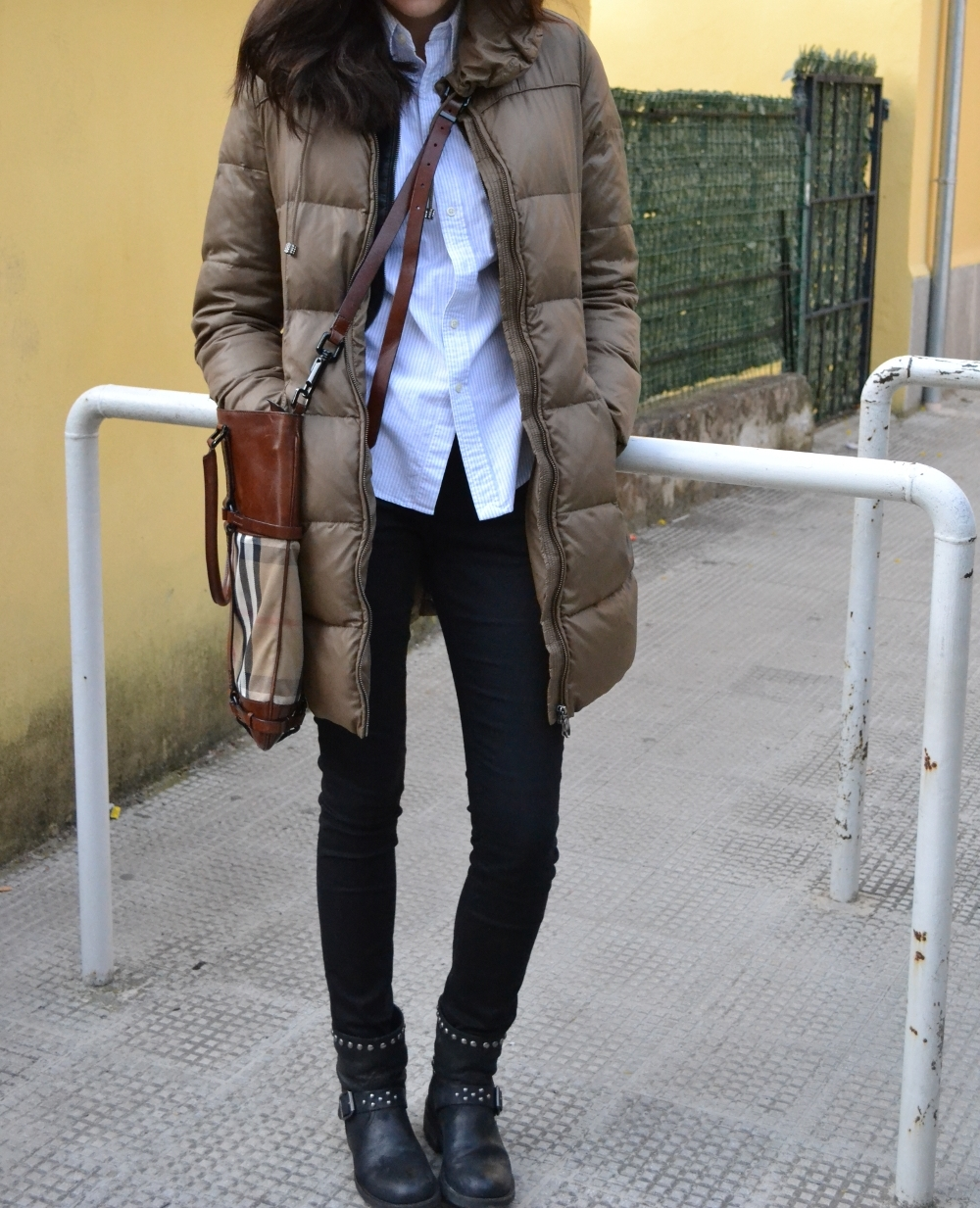 zara skinny pants, ralph lauren shirt, zhero down jacket