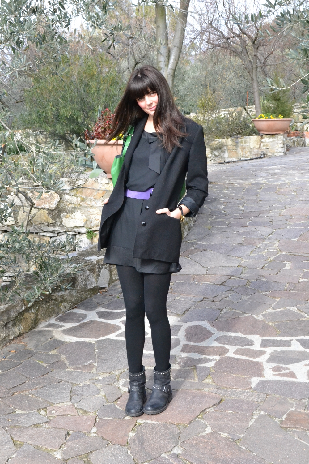 sonia fortuna belt,  H&M dress, vintage byblos jacket
